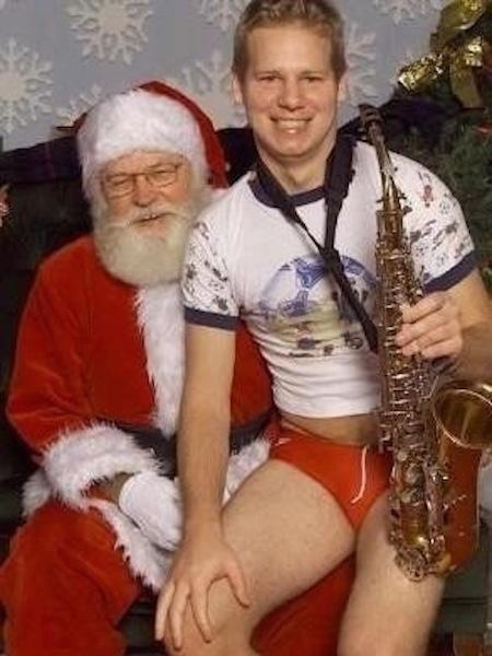 funny christmas cards, funny christmas photos, santa saxaphone guy