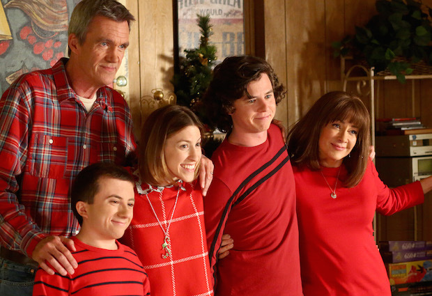 """THE MIDDLE - """"Thanksgiving VIII"""" - Frankie has come to the conclusion that April (guest star Greer Grammer) is not good enough for Axl and does everything in her power to keep her out of their annual Christmas family photo. But she finds herself vying for Axl's attention by trying to rearrange timing for the family's Thanksgiving dinner when she discovers that he plans to go to April's multiple family get-togethers that day. Meanwhile, Sue goes ballistic when she discovers that Brick will now be her new co-worker at Spudsy's, on ABC's """"The Middle,"""" airing on TUESDAY, NOVEMBER 22 (8:00–8:30 p.m. EDT). (ABC/Michael Ansell) NEIL FLYNN, ATTICUS SHAFFER, EDEN SHER, CHARLIE MCDERMOTT, PATRICIA HEATON, GREER GRAMMER"""