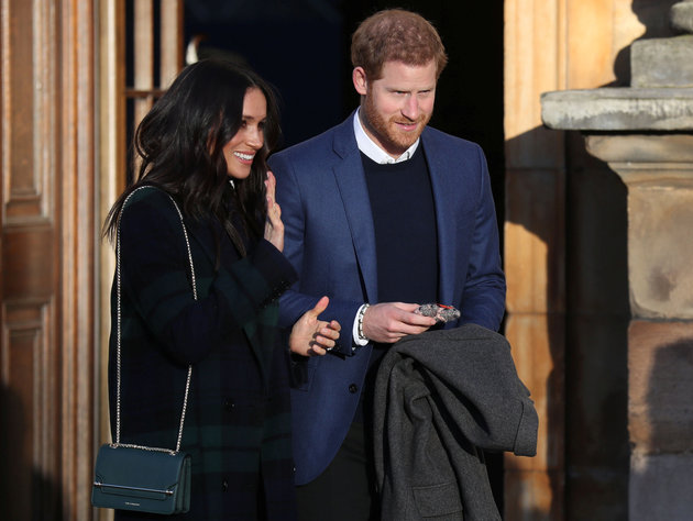 Britain's Prince Harry and his fiancee Meghan Markle attend a reception for young people at the Palace of Holyroodhouse in Edinburgh, Britain February 13, 2018. REUTERS/Andrew Milligan/Pool