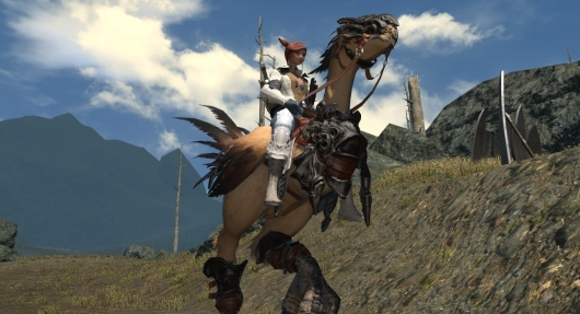 Legacy Chocobo, glamoured combination of shirt and Sentinel's armor, taken in the North Shroud near the border with Coerthas.  There, aren't you happy now?