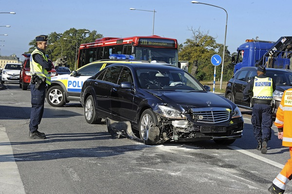 Sept. 17, 2014 - Stockholm, Sweden - King Carl XVI Gustaf of Sweden was involved in a car crash this morning on his way from Drottningholm Palace to Bromma airport. The King's driver crashed into a Lexus SUV that suddenly made a turn. The King wasn't injured and could continue his trip in antother vehicle. No one was injured in the accident (Credit Image: © Aftonbladet/IBL/ZUMA Wire)