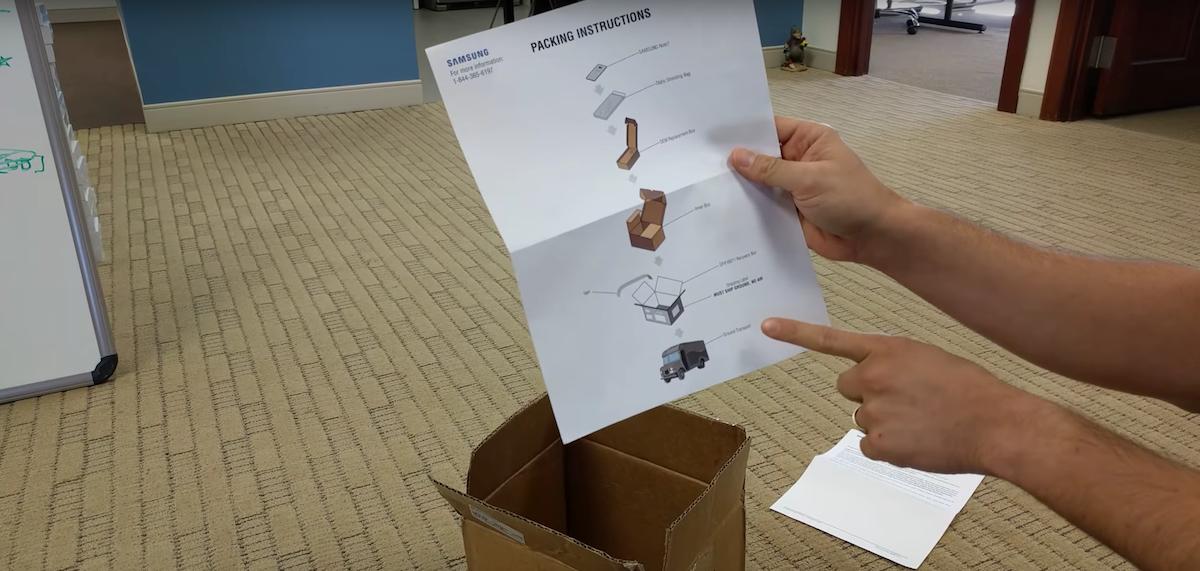 samsung recovery kit Existe un kit de devolución del Galaxy Note 7... y trae hasta guantes
