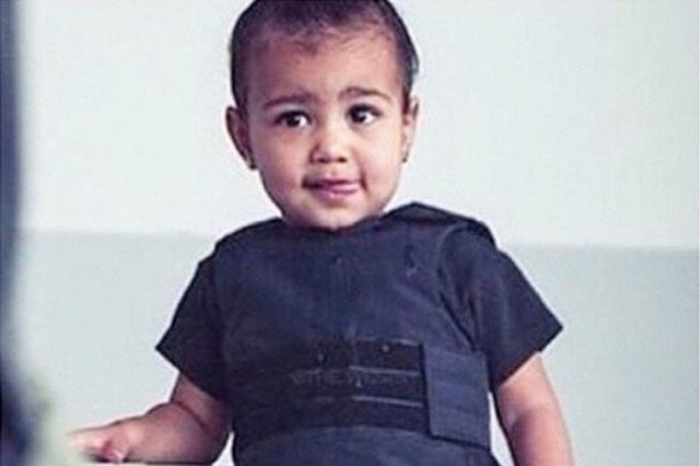 Kim Kardashian dresses North West in a bullet proof vest