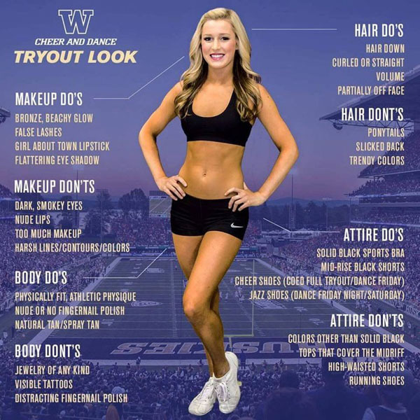 University of Washington cheerleader tryout advert.