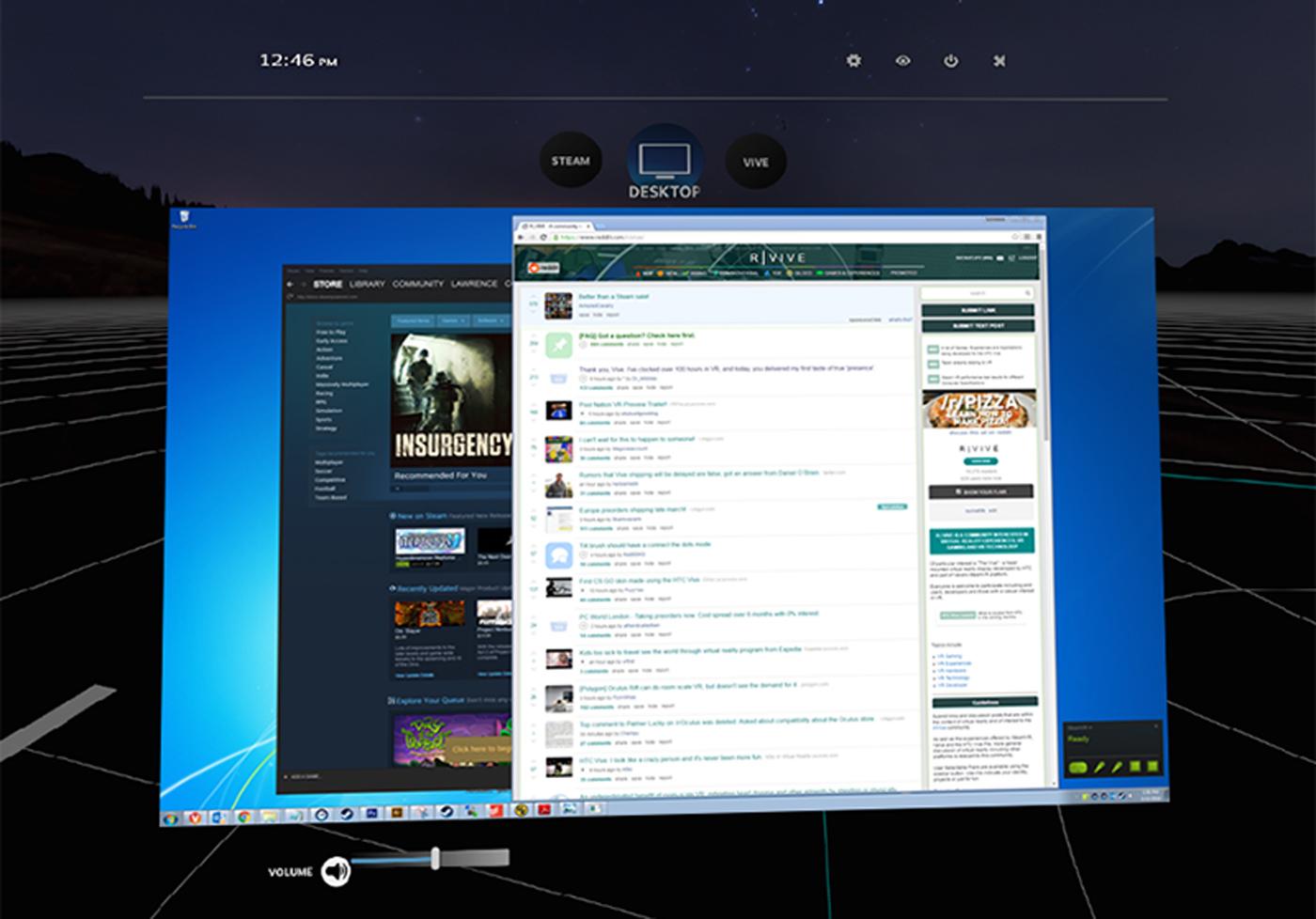 Steam VR te permitirá acceder a tu escritorio sin quitarte las gafas
