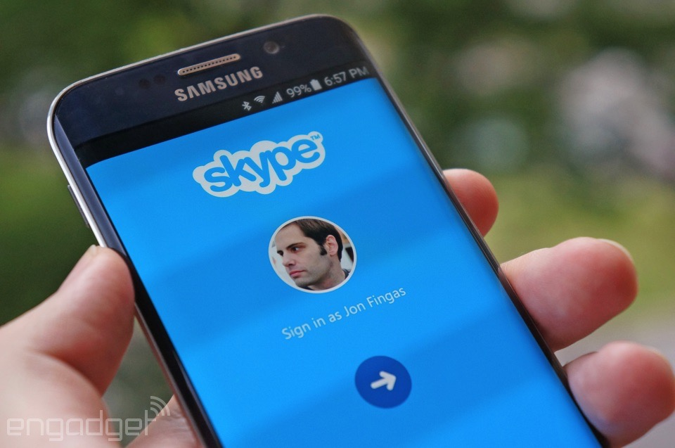 Signing into Skype for Android