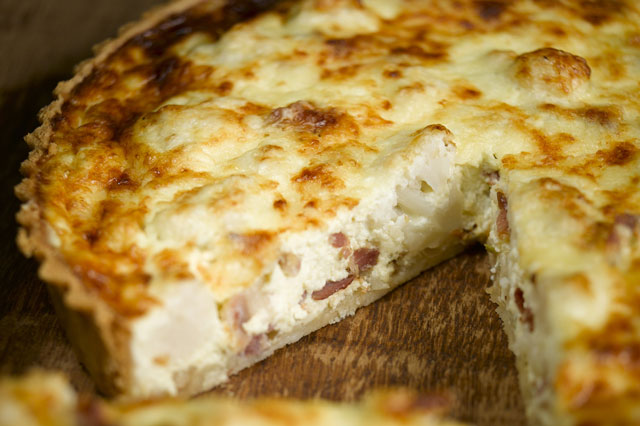 Cauliflower cheese and smoked bacon tart recipe