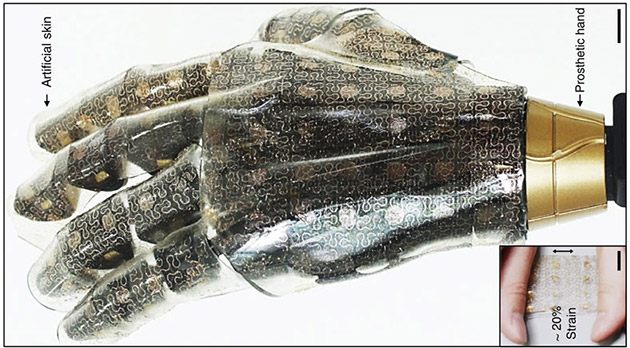 Stretchable artificial skin can give prosthetics the sense of touch