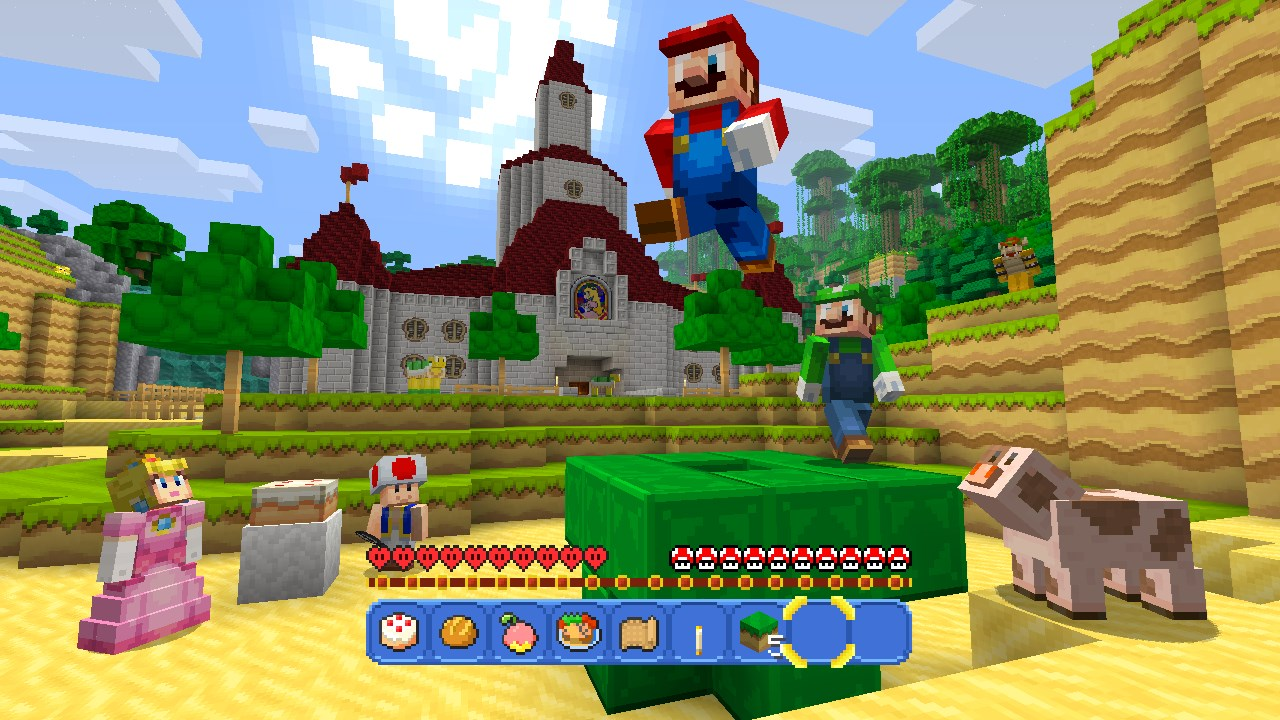 Mario seen in Minecraft