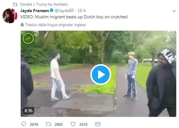 Trump condivide su Twitter i video contro i musulmani dell'ultradestra britannica