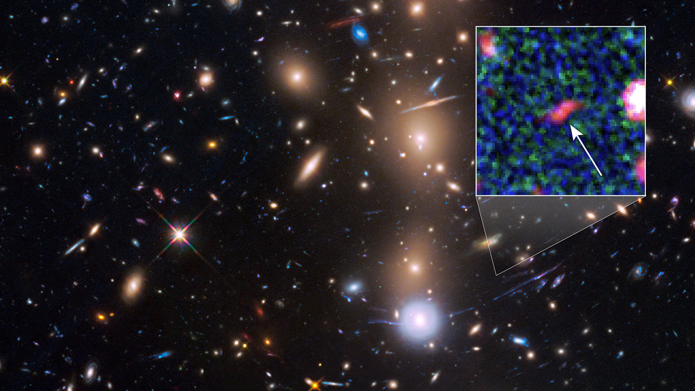 Hubble Spots Faint Galaxy With Natural Magnifying Glass