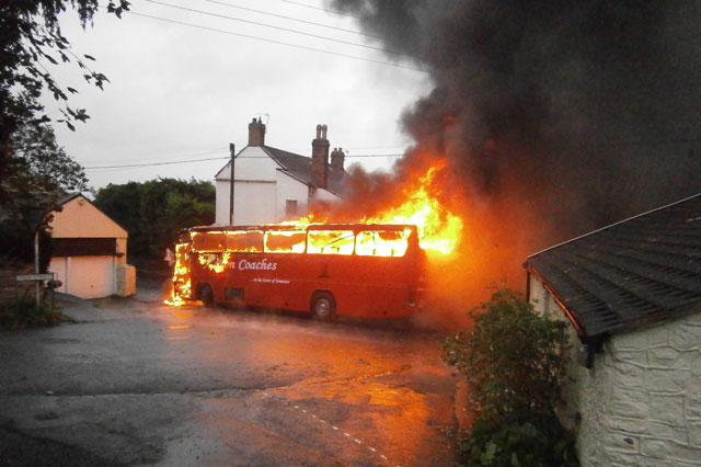School bus bursts into flames minutes after kids were evacuated