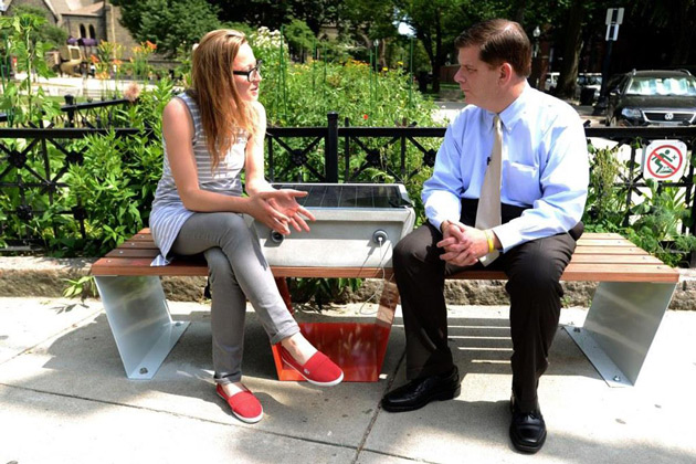 A solar-powered 'soofa' smart bench in Boston