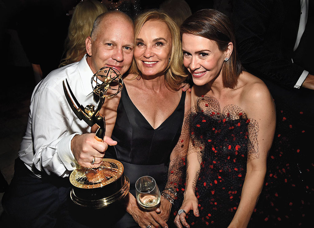 LOS ANGELES, CA - AUGUST 25:  (L-R) Producer Ryan Murphy, and actresses Jessica Lange, and Sarah Paulson attend the FOX, 20th Century FOX Television, FX Networks and National Geographic Channel's 2014 Emmy Award Nominee Celebration at Vibiana on August 25, 2014 in Los Angeles, California.  (Photo by Michael Buckner/Getty Images for FOX)