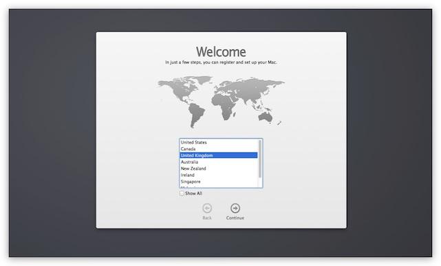 OS X Mavericks Setup Assistant