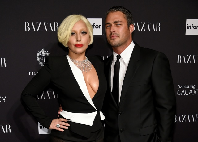 Lady Gaga does plunging blazer and no bra at Harper's Bazaar Icons party