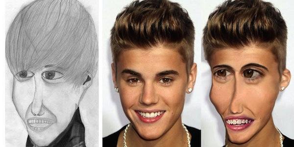 best worst examples of celebrity fan art, bad celebrity drawings, justin bieber