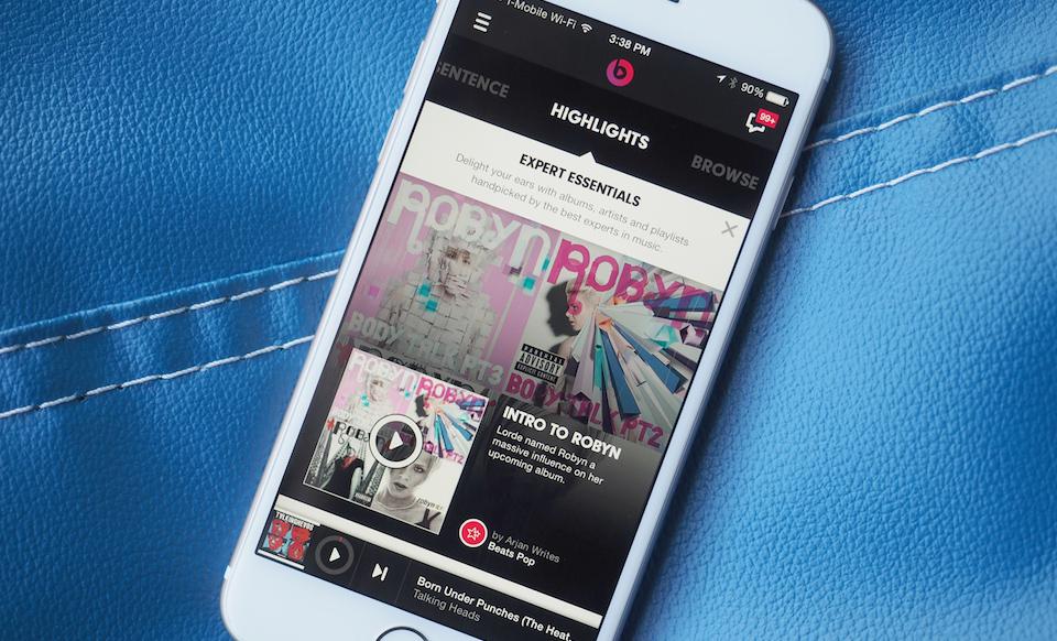 Beats Music app on an iPhone