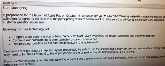 Leaked Walgreens memo points to Apple Pay launch on October 18