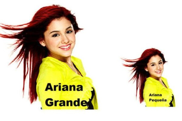celebrity name puns, celebrity opposite names, ariana grande pequena