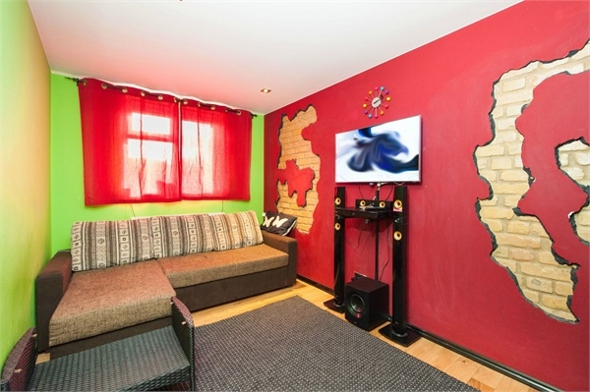 The red and green living room.