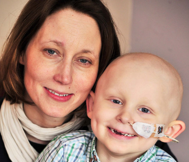 Zack Nicholls, three, is battling Ewing's sarcoma