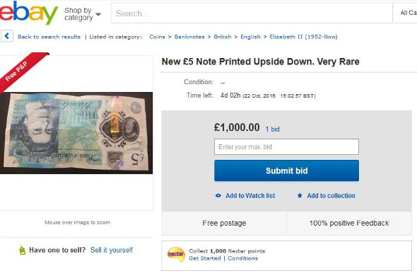 A listing for an 'upside down' £5 note