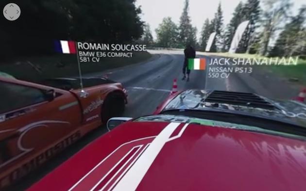 【ビデオ】山道で行われたドリフト競技を、360度カメラで撮影!