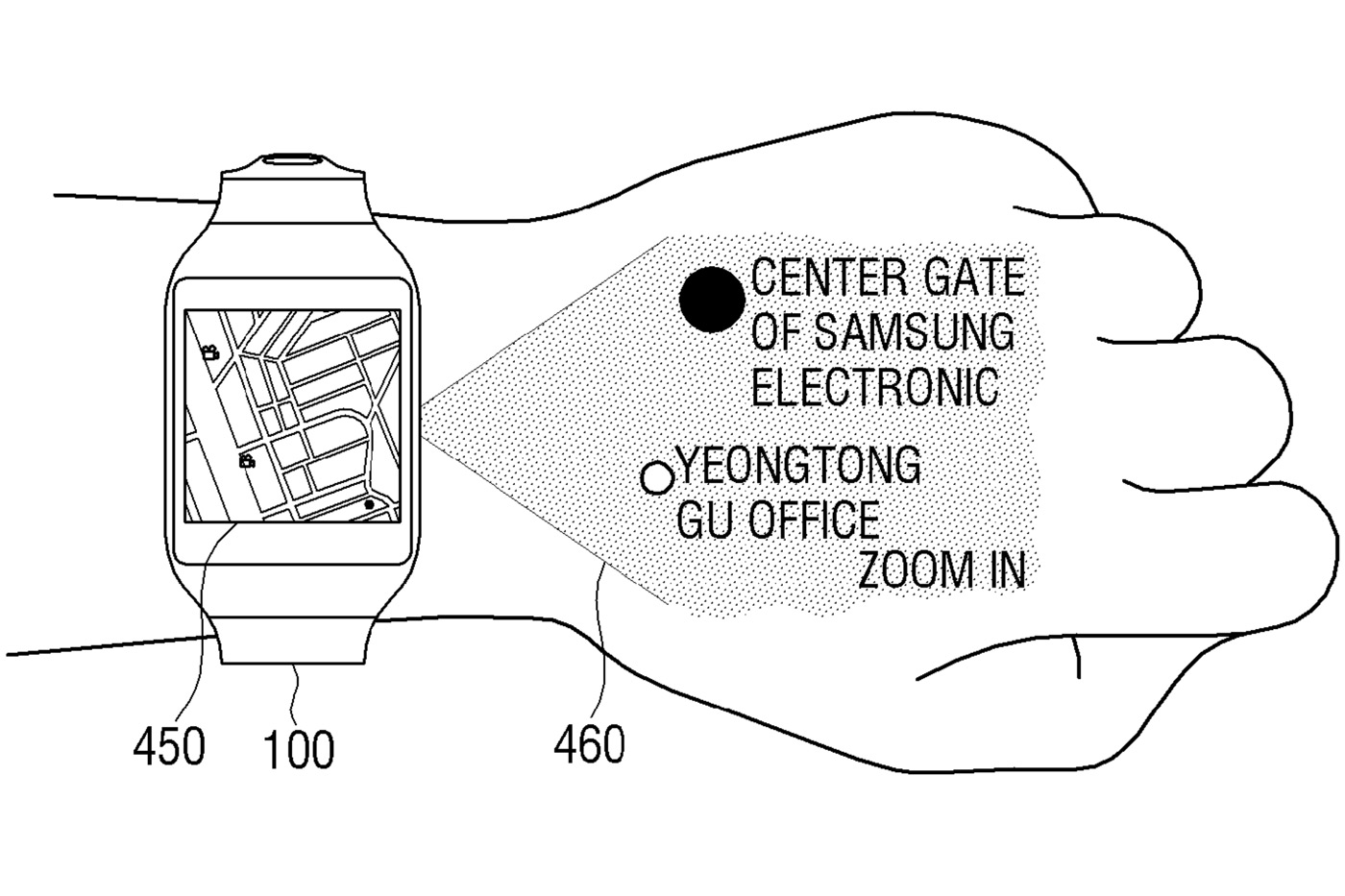 Samsung smartwatch concept projects an interface on your hand