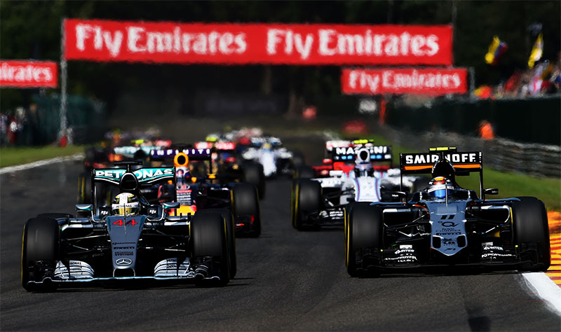 Drivers jostle at the start of the 2015 Belgian F1 Grand Prix.