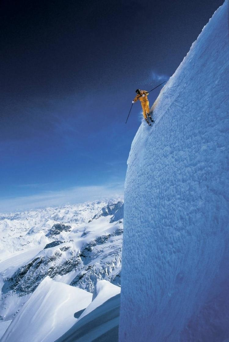 manliest photos on the internet, funny manly images, skier on steep slope