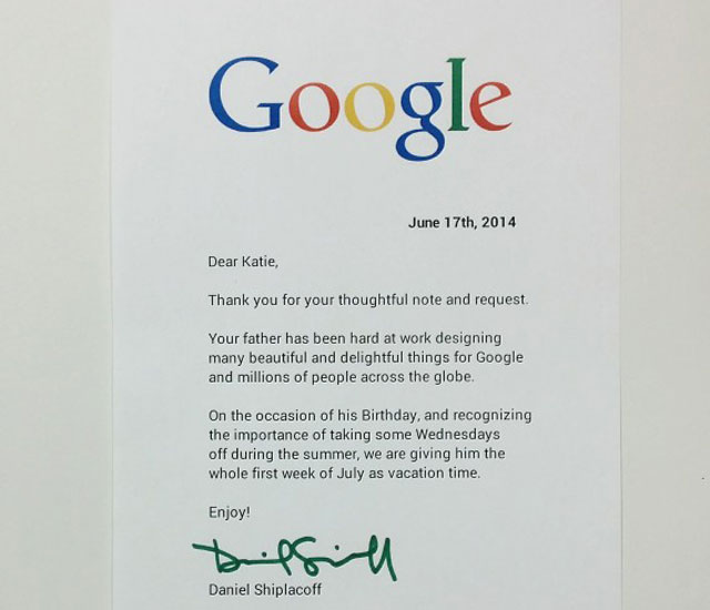 Google employee letter from child for time off