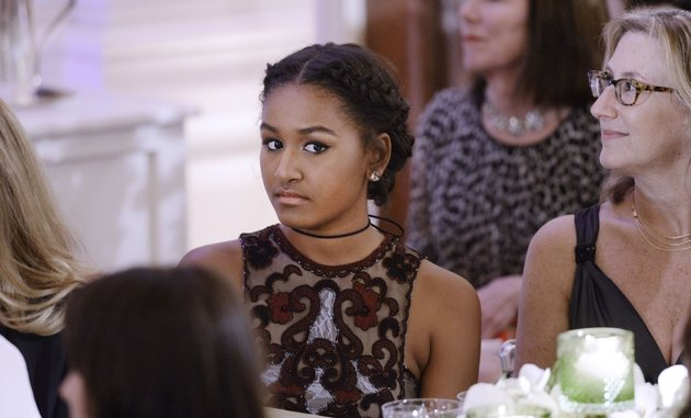 WASHINGTON, DC - MARCH 10: Sasha Obama attends a State Dinner at the White House March 10, 2016 in Washington, D.C. Hosted by President and First Lady Obama, the dinner is in honor of Prime Minister Justin Trudeau and First Lady Sophie Gregoire Trudeau of Canada. (Photo by Olivier Douliery-Pool/Getty Images)