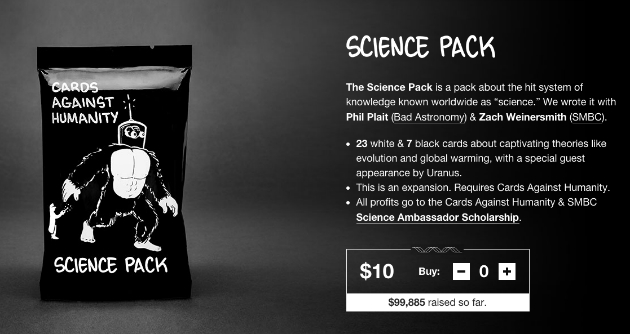 science+pack Cards Against Humanity expansion benefits womens STEM scholarship