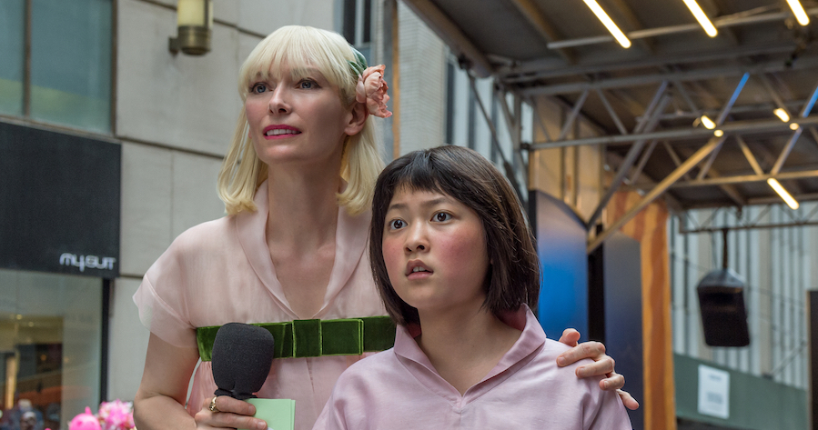 Tilda Swinton as Lucy Mirando and An Seo Hyun as Mija in OKJA.