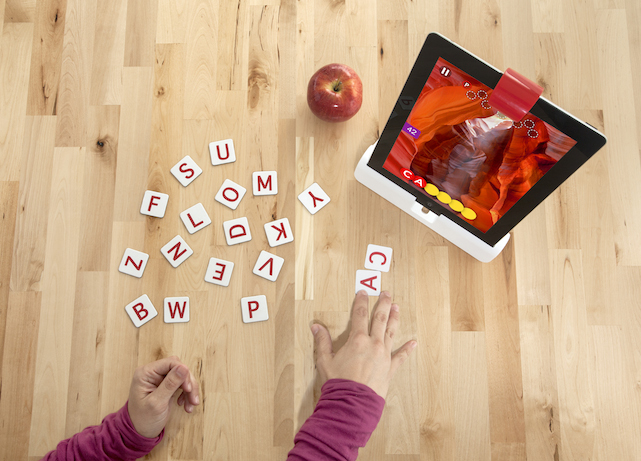 Osmo adapter for iPad with letter game