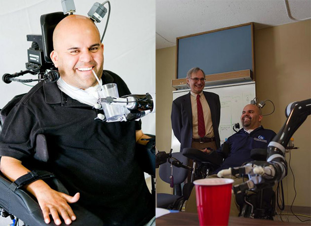 Paralyzed man drinks beer by controlling a robot arm with his mind