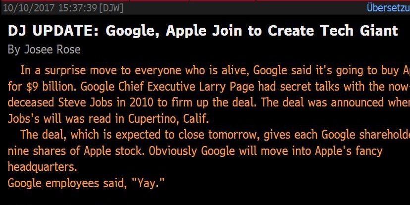 Falschmeldung um Megadeal zwischen Google und Apple: Dow Jones entschuldigt sich