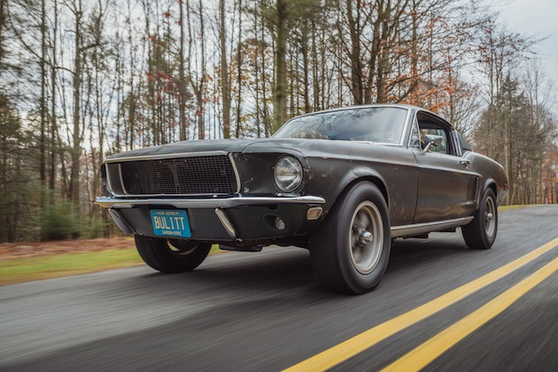 Sean Kiernan driving his original 1968 Mustang that starred in movie Bullitt