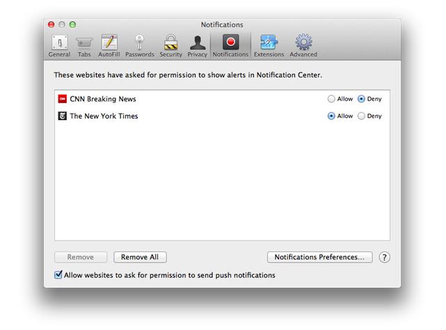 safari push notification prefs.