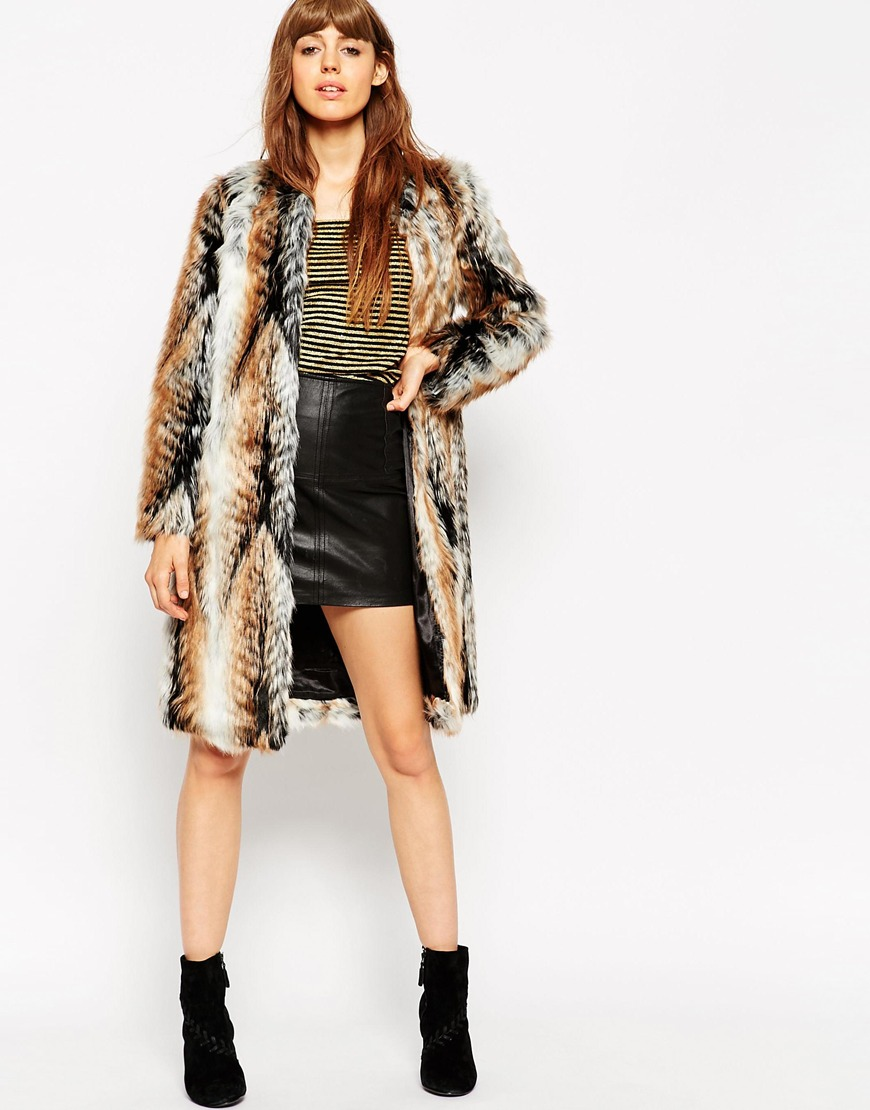 ASOS Coat In Longline Vintage Faux Fur