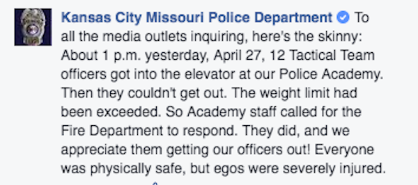 Some Kansas City Cops Got Trapped In An Elevator And Firefighters Couldn't Help But Laugh