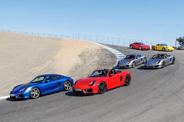 Mid-engine Porsche models at Laguna Seca