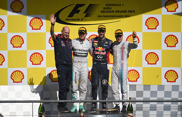 The podium ceremony at the 2014 Belgian Grand Prix.