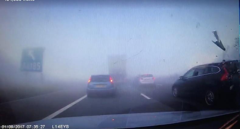 diy car crash terrifying footage shows eight car crash on m65 in heavy fog aol