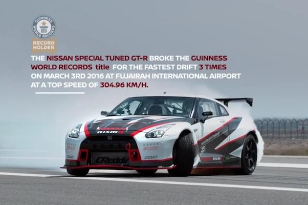 【ビデオ】1380馬力にチューンした日産「GT-R NISMO」、304.96km/hの最速ドリフトでギネス記録を更新!