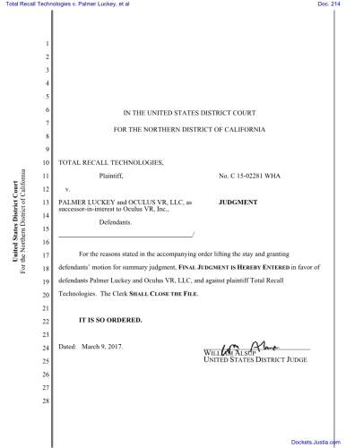 Total Recall Technologies v. Palmer Luckey, et al - Judgement