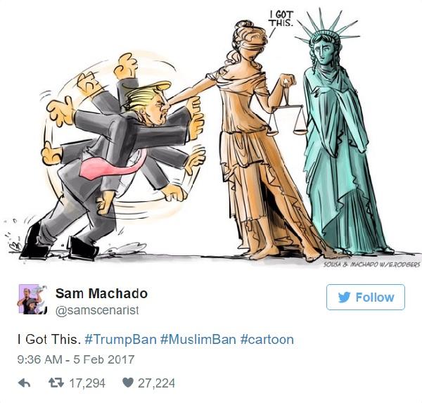 トランプ大統領の入国禁止令を受けてツイッターに投稿された風刺画が話題に