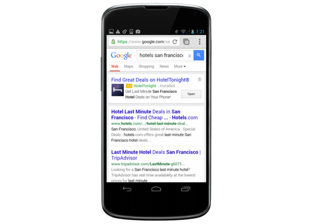 Google AdWords spot with deep app linking