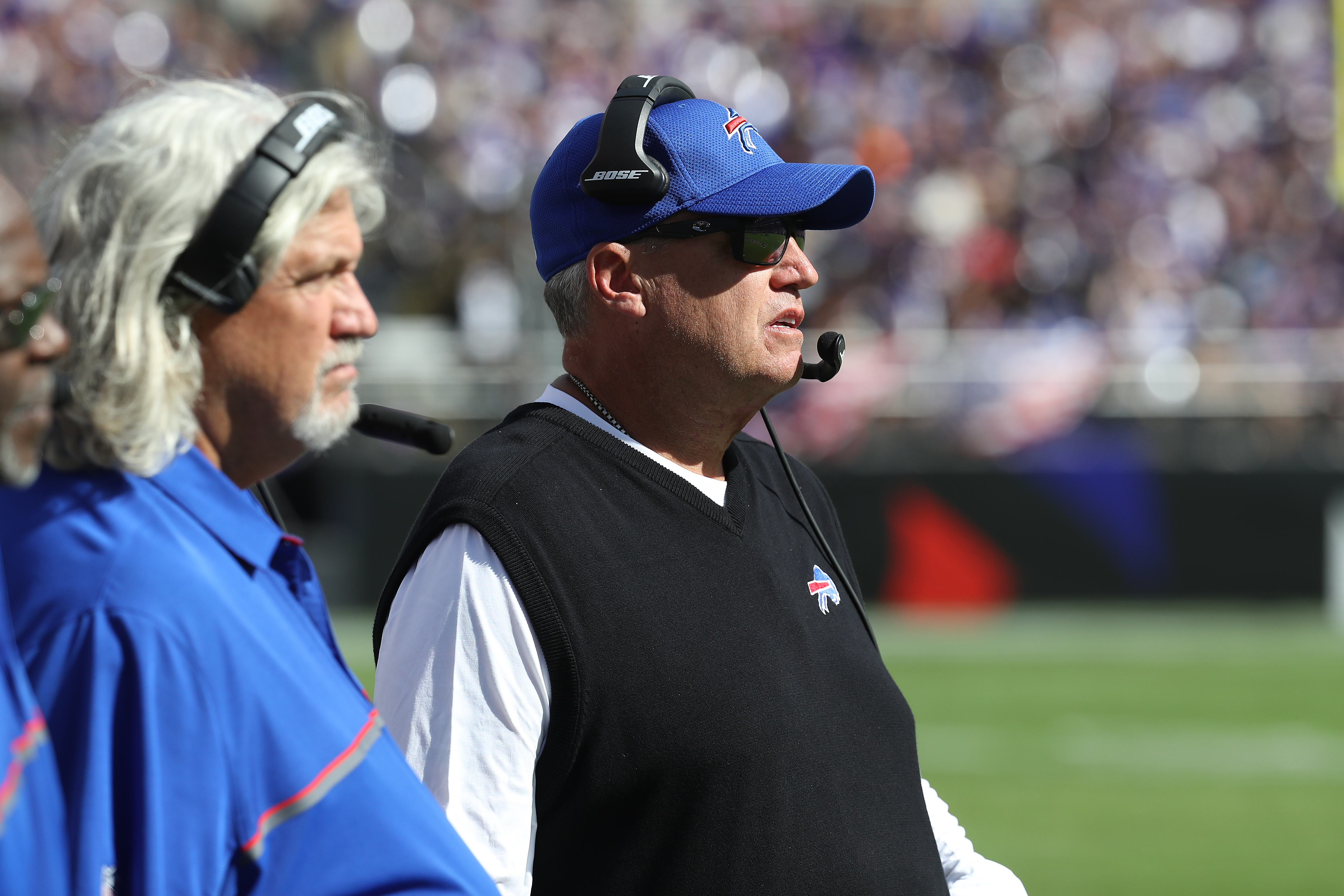 BALTIMORE, MD - SEPTEMBER 11: Head Coach Rex Ryan of the Buffalo Bills looks on against the Baltimore Ravens in the second half of the game at M&T Bank Stadium on September 11, 2016 in Baltimore, Maryland. (Photo by Rob Carr/Getty Images)